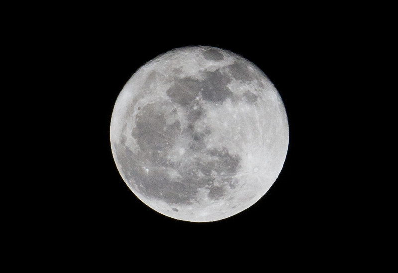 Week 2: Heavily Cropped pic of the full moon. Hand held 7D + 70-200 2.8L IS II.