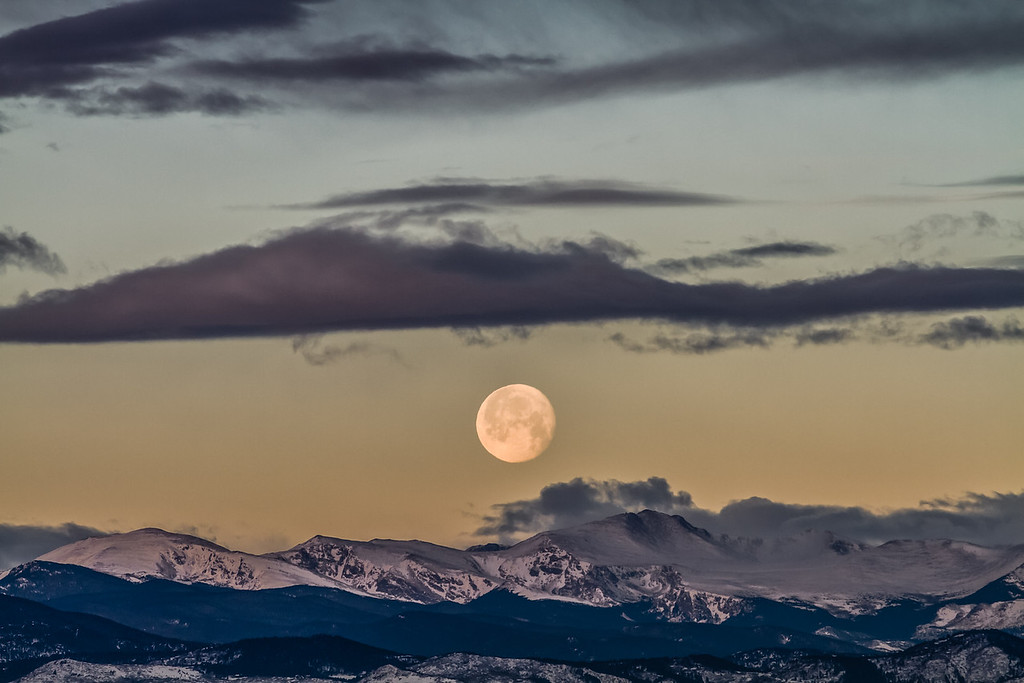 Week 7: Full Moon setting over the Rocky Mountains. Morning 2/9/12