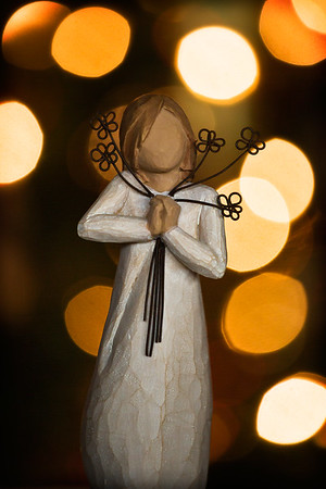 12-17-2012. Friendship. Willow Friendship figurine placed around 3 ft. in front of the Christmas tree and 3 ft. in front of the camera. Used a tripod.  Thank you so much for your comments yesterday on my Christmas Card!