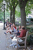Rittenhouse Square in Philadelphia on a hot, humid day is filled with people trying to be cool. (9-8-12)