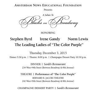 A Salute to Blacks on Broadway honoring Broadway's The Color Purple stars Cynthia Erivo, Jennifer Hudson & Danielle Brooks; Norm Lewis; Irene Gandy; and Stephen Byrd; with stellar dinner guests, Sardi's, NY, December 3, 2015. Photography by Lisa Pacino.