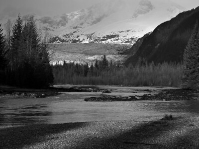 The sun appeared on and off, creating a little foreground variation. This is the Mendenhall River, seen from one of the main trails in the Dredge Lakes area.