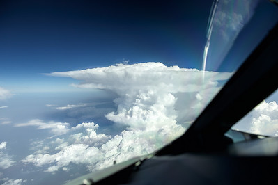 Thunderstorm over India on the way to Bangkok, EK 372. A380 cockpit view.