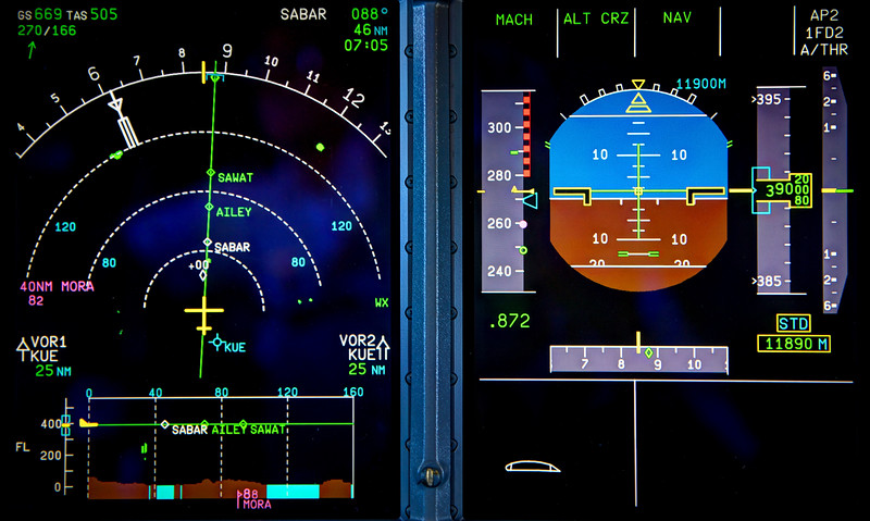 Primary Flight Display and Navigation Display of an Airbus A380. 669 knots groundspeed (1239 km/h or 765 mph), indicated airspeed Mach 0.872. 166 knots of tailwind in the middle of the jetstream on our way to Japan.