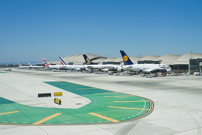 EK215 DXB-LAX.4  A380s parked at Bradley Terminal in LAX.