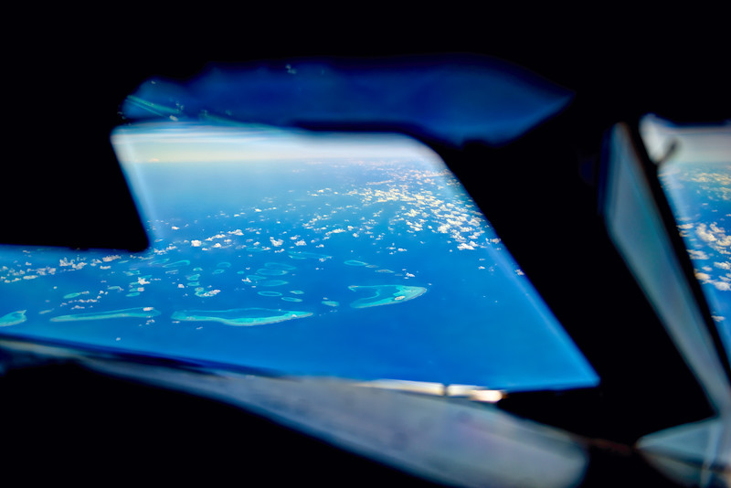 View of the Maledives from the cockpit of an Airbus A380.