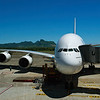 Emirates Airline Airbus A380 at the gate in Mauritius.