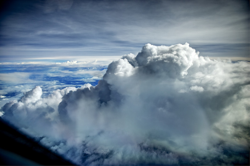 Top of a thunderstorm over the Indian Ocean as seen from the cockpit of an Airbus A380.