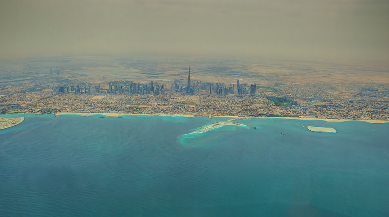 Aerial view of Dubai on a left downwind departure off runway 30R in Dubai.