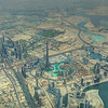 Aerial view of downtown Dubai with the world's tallest building, the Burj Khalifa almost 2900' tall).