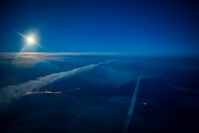 Super Moon rise over Turkey in flight A380