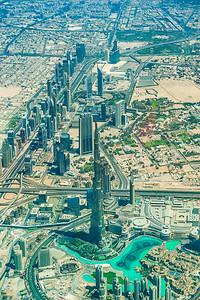 Burj Khalifa, Business Bay and Sheikh Zayed Road. Dubai.