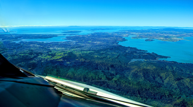 Aerial view of New Zealand, approaching Auckland. Cockpit view, Airbus A380.