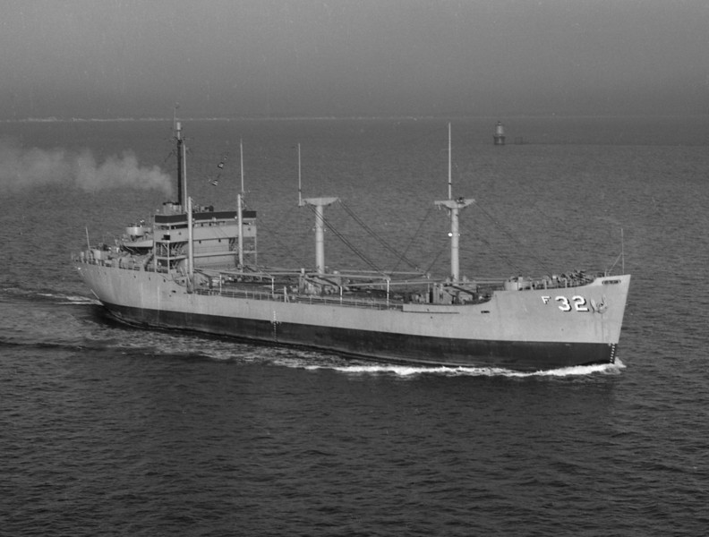 USS Corduba (AF-32)<br /> <br /> Date: 1954-1955<br /> Location: Hampton Roads VA<br /> Source: Nobe Smith - Atlantic Fleet Sales