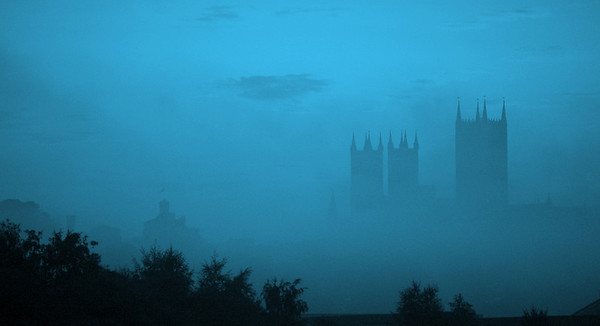 24.08.11 - Misty Blue  No this isn't the true colour, but I was trying to produce something different to another misty pre-dawn shot. As well as the low lying mist across the fields in the valley, there was another higher layer uphill around the base of the Cathedral. At times the towers almost disappeared completely, and the Castle to the left was out of sight most of the time.  Thanks for the comments on the stained glass window shots recently. I've just realised that my last five shots in this gallery have been of the Cathedral one way or another. I must try to find something else to shoot tomorrow!