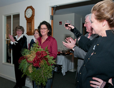 Jane Moore, being honored as Ancram's Angel of the Year for donating her services for the painting of Town Hall.