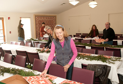 Abby Westlake and other Angels beautifying the tables.