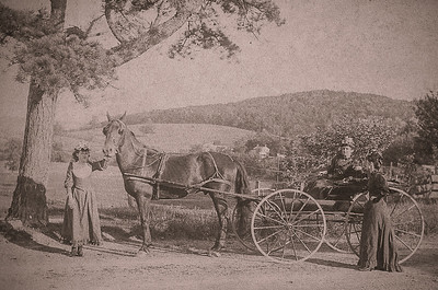 3 women with horse & wagon