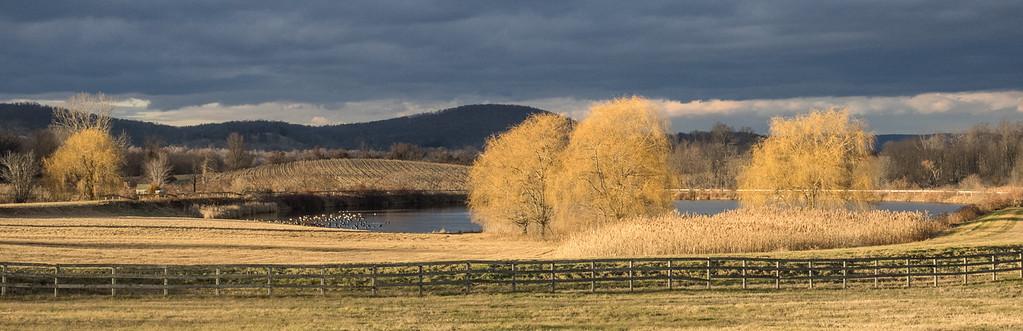 Ancramdale winter fence, pond, sky Rt 8