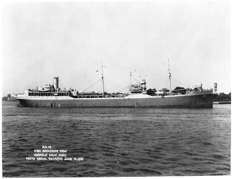 USS Kaweah (AO-15)<br /> <br /> Date: June 13 1943<br /> Location: Norfolk Navy Yard<br /> Source: William Clarke - National Archives