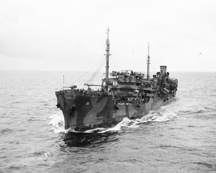 USS Housatonic (AO-35)<br /> <br /> Date: July 17 1943<br /> Location: Coming alongside USS Ranger (CV-4) for Replenishment at Sea.<br /> Source: William Clarke - National Archives