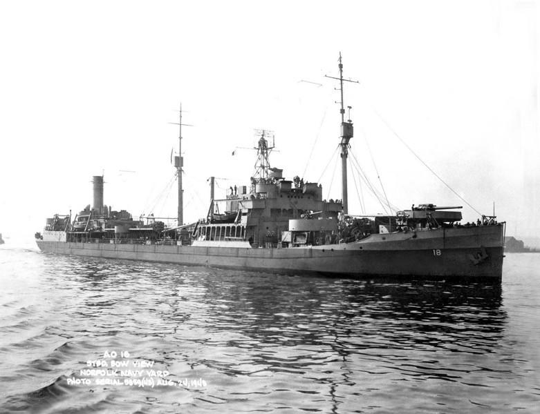 USS Rapidan (AO-18)<br /> <br /> Date: August 24 1943<br /> Location: Norfolk Navy Yard<br /> Source: William Clarke - National Archives