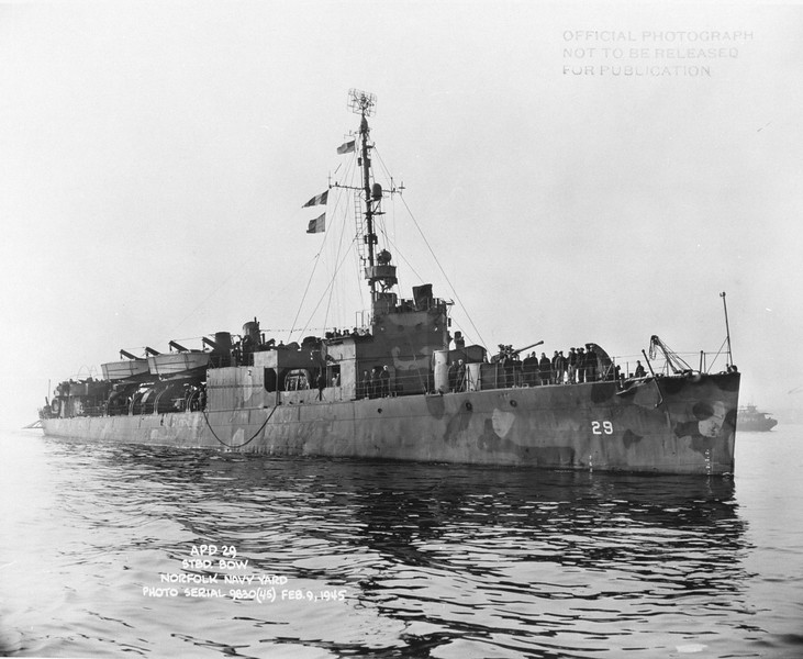 USS Barry (APD-29)<br /> <br /> Date: February 9 1945<br /> Location: Norfolk Navy Yard<br /> Source: William Clarke - National Archives