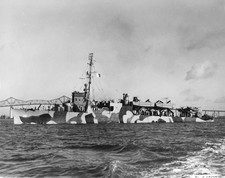 USS Osmond Ingram (APD-35)<br /> <br /> Date: July 1944<br /> Location: Charleston SC<br /> Source: William Clarke - National Archives