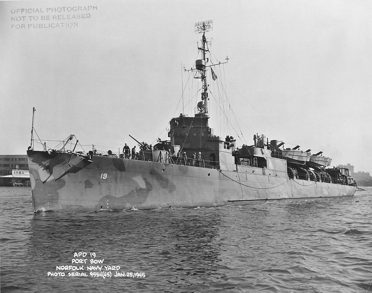 USS Tattnall (APD-19)<br /> <br /> Date: January 25 1945<br /> Location: Norfolk Navy Yard<br /> Source: William Clarke - National Archives
