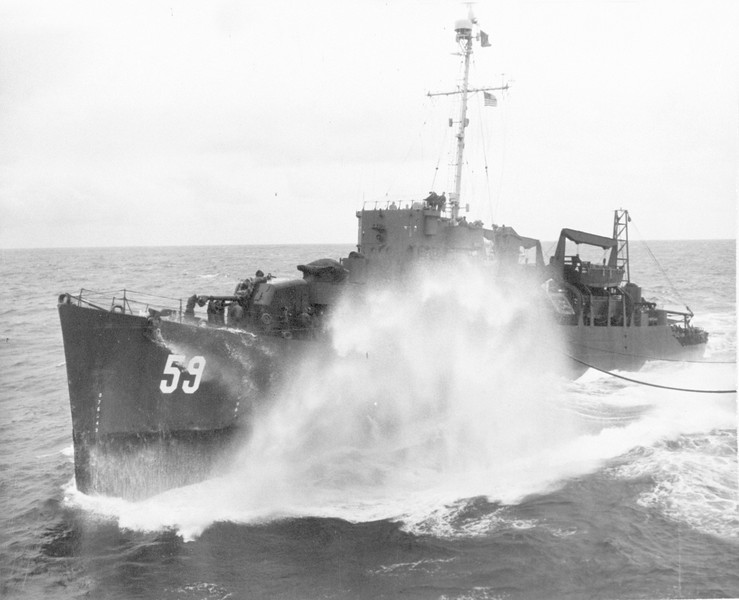 USS Newman (APD-59)<br /> <br /> Date: Unknown<br /> Location: Unknown<br /> Source: William Clarke - National Archives