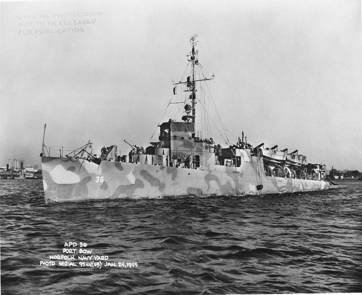 USS Greene (APD-36)<br /> <br /> Date: January 24 1945<br /> Location: Norfolk Navy Yard<br /> Source: William Clarke - National Archives