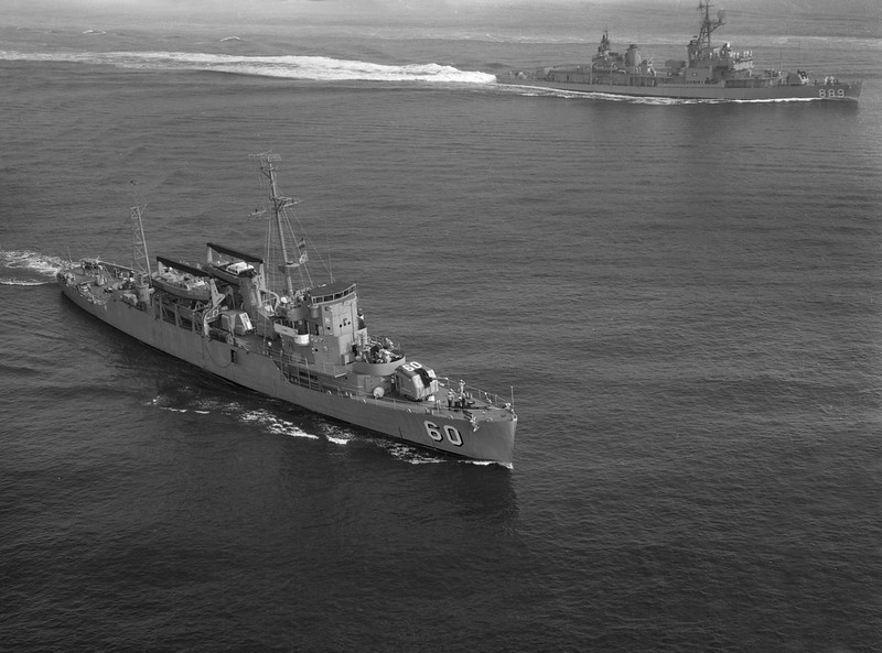 USS Liddle (APD-60)<br /> Passing Honors close aboard with USS O'Hare (DDR-889)<br /> <br /> Date: After 1958 ?<br /> Location: Hampton Roads VA<br /> Source: Nobe Smith - Atlantic Fleet Sales