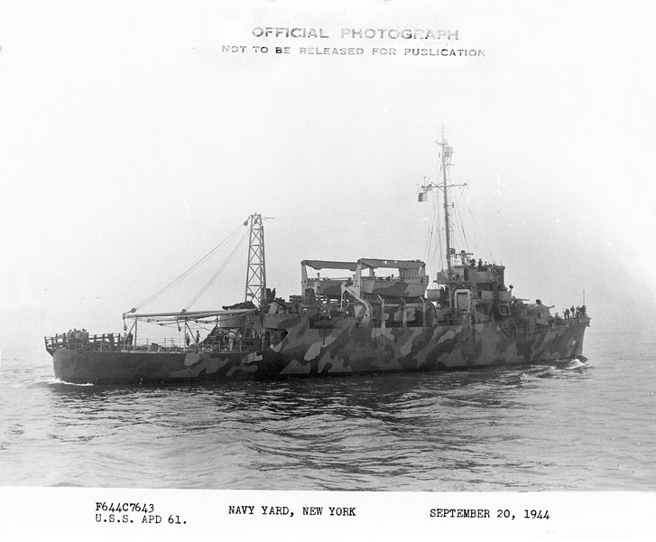 USS Gephart (APD-61)<br /> <br /> Date: September 20 1944<br /> Location: Navy Yard, NY<br /> Source: William Clarke - National Archives