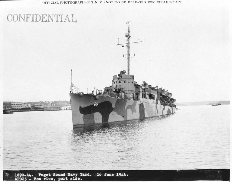 USS Rathburne (APD-25)<br /> <br /> Date: June 16 1944<br /> Location: Puget Sound Navy Yard<br /> Source: William Clarke - National Archives