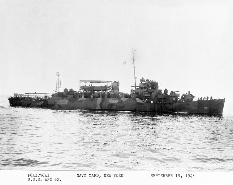 USS Cofer (APD-62)<br /> <br /> Date: September 19 1944<br /> Location: Navy Yard, NY<br /> Source: William Clarke - National Archives