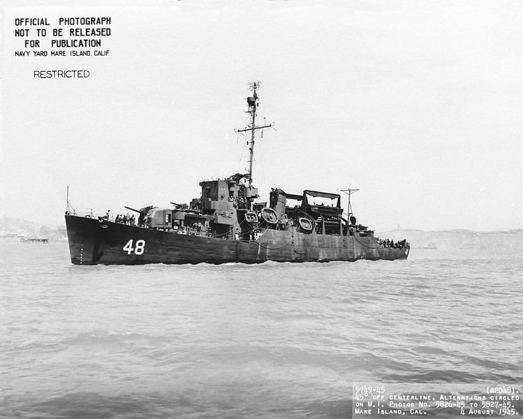USS Blessman (APD-48)<br /> <br /> Date: August 4 1945<br /> Location: Mare Island CA<br /> Source: William Clarke - National Archives