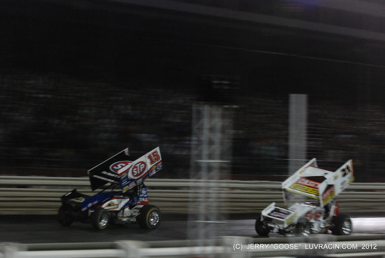 FOR THE CHECKER FLAG DONNY BY A HALF A CAR BRIAN BROWN SECOND !