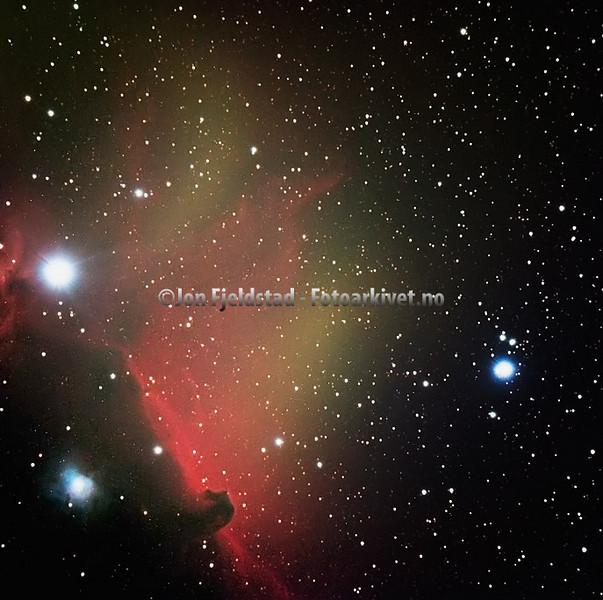 HESTEHODETÅKEN B33 OG IC 434 - HORSEHEAD NEBULA B33 AND BRIGHT RED EMISSION NEBULA IC 434.