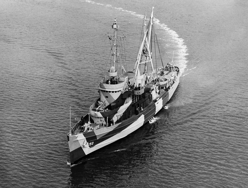 USS Avoyel (ATF-150)<br /> <br /> Date: Unknown (Measure 32/17Ax camo)<br /> Location: Unknown (Charleston SC ?)<br /> Source: William Clarke - National Archives