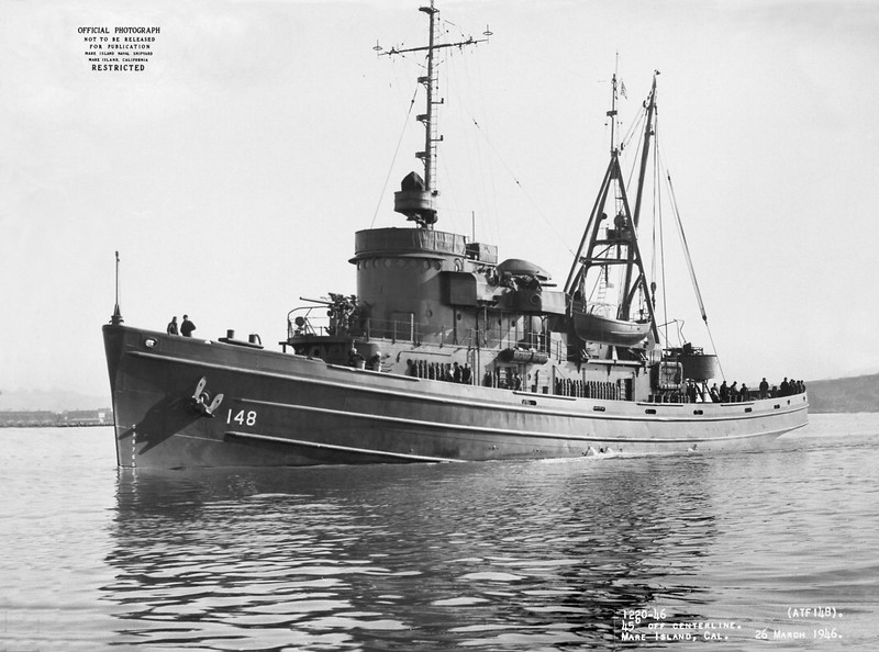 USS Achomawi (ATF-148)<br /> <br /> Date: March 26 1946<br /> Location: Mare Island CA<br /> Source: William Clarke - National Archives
