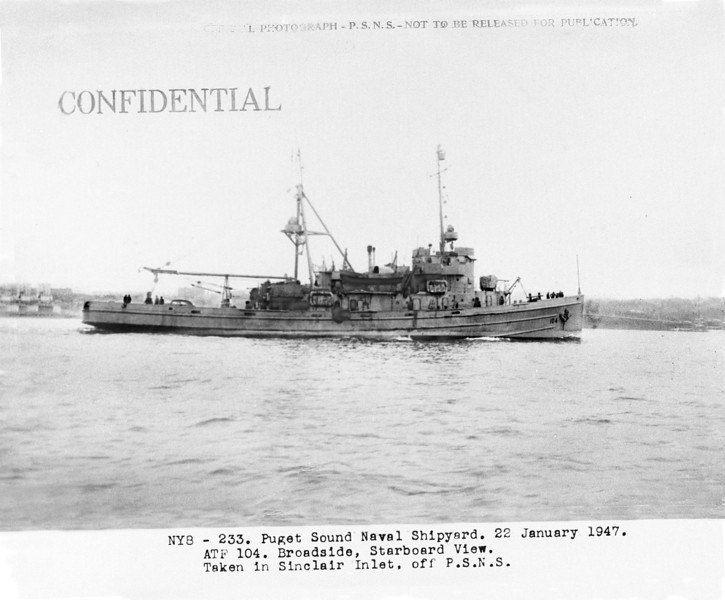 USS Jicarilla (ATF-104)<br /> <br /> Date: January 22 1947<br /> Location: Sinclair Inlet, Puget Sound Naval Shipyard<br /> Source: William Clarke - National Archives