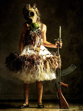 New york fine art. Girl with gas mask and gun.