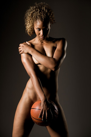 Nude female basketball player