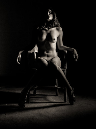 Nude fine art NYC photography girl in chair.