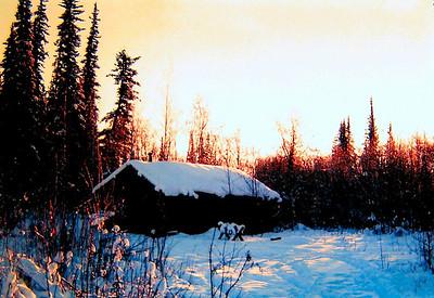 Trapper cabin, -50 F, North Pole, Alaska, jan 1972a