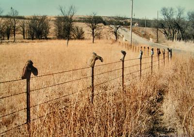 Kansas  Boot fence near Manhattan, KS , mar 4, 1994