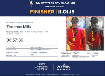 NYC Marathon finisher 2015