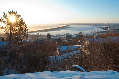 January sun rising over Duluth