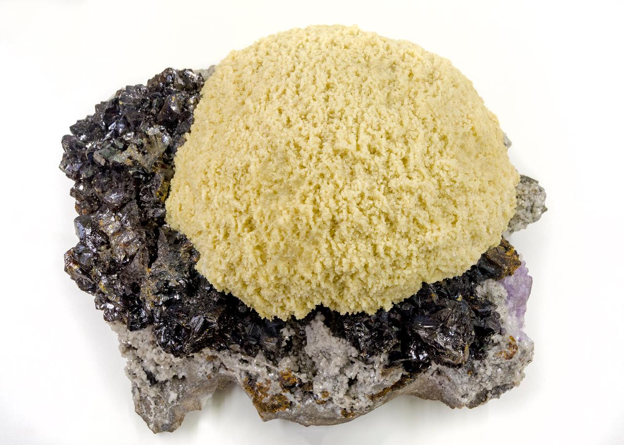 Barite Sphalerite museum mineral on display
