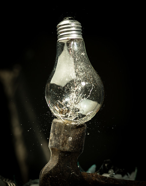 The last incandescent light bulb breaks on a hammer